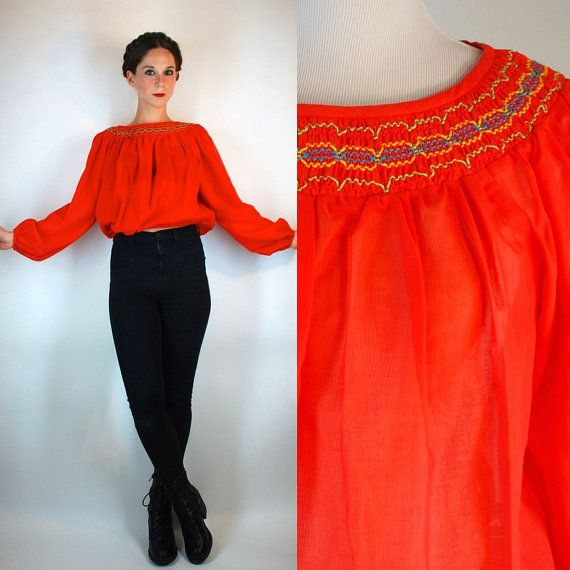 Vintage 70s Red Gauze Peasant Mini Dress Blouse By