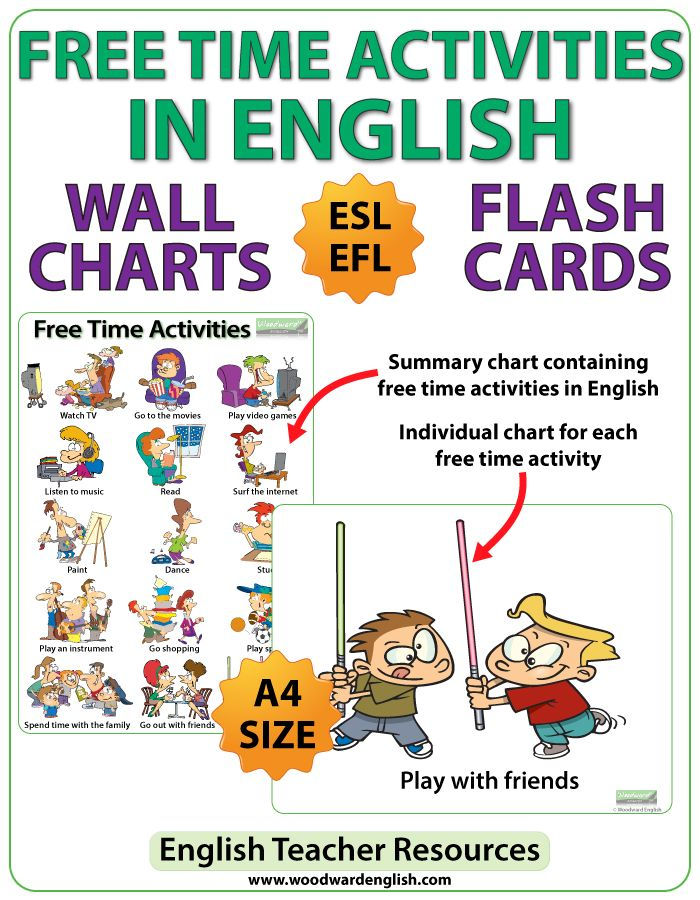 Esl Free Time Activities  Charts  Flash Cards  Time Activities