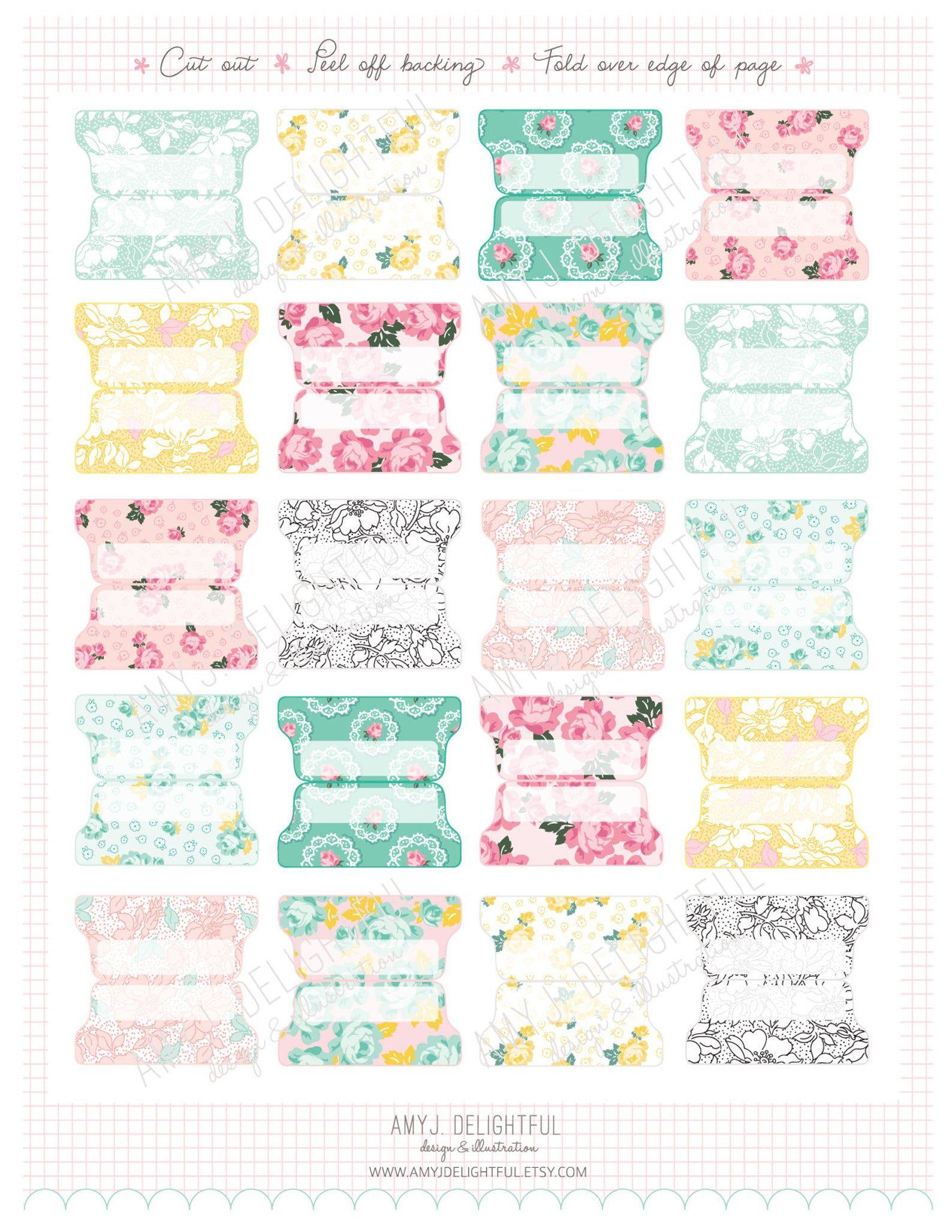Small Size Printable 1940s Floral Planner File Tabs Digital File Instant Download Floral Pastels Home Management Organization Separadores De Carpetas Separador De Libros Divisores De Agenda