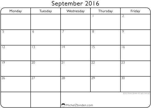 September 2016 Calendar Starting Monday | Classroom Ideas