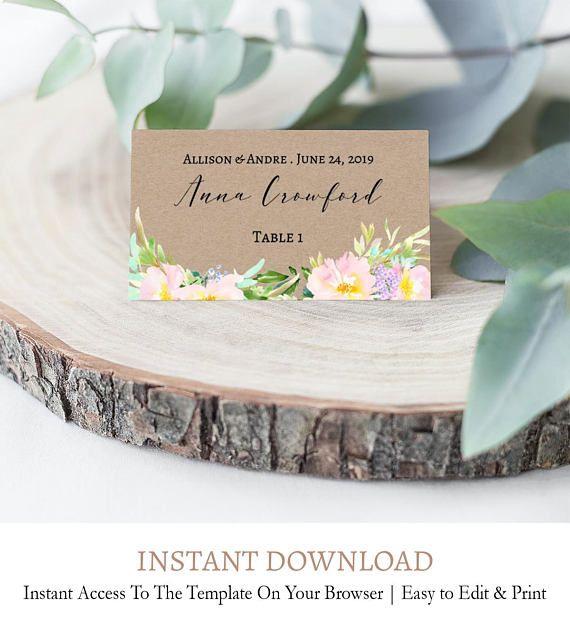 Folded Place Card, Boho Place Cards, Kraft Place Card, Wedding