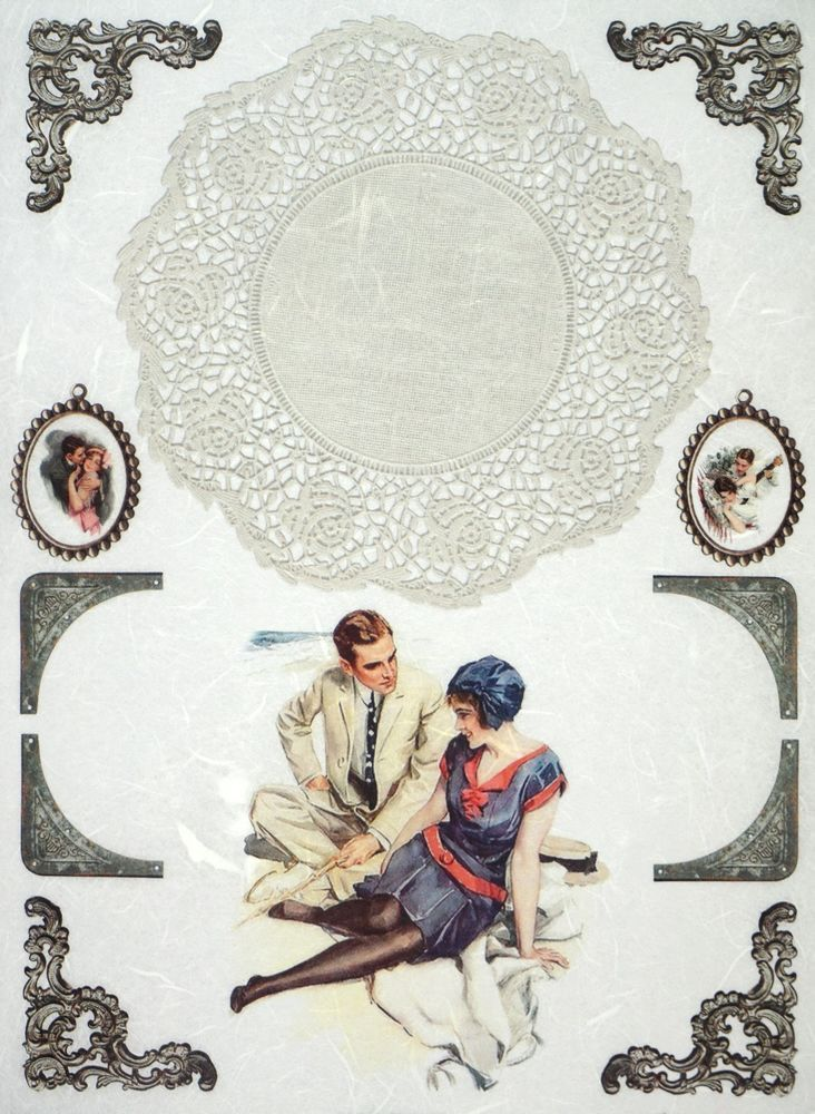 Rice Paper for Decoupage Decopatch Scrapbook Craft Sheet Vintage Love Photos