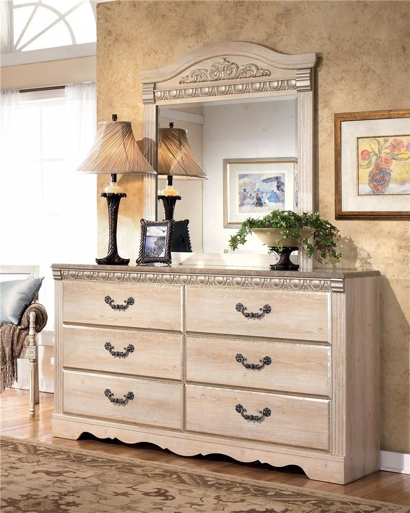 Silverglade Six Drawer Dresser And Mirror By Signature Design By Ashley   Lapeer  Furniture U0026 Mattress