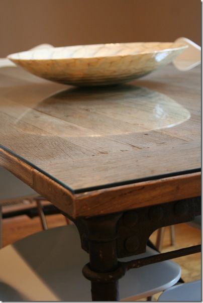 Glass Top For Industrial Reclaimed Wood Dining Table 1