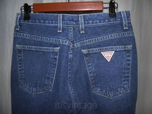 Vintage-Guess-Denim-Blue-Jeans-High-Rise-Waist-Tapered-Made-USA-26x29-actual