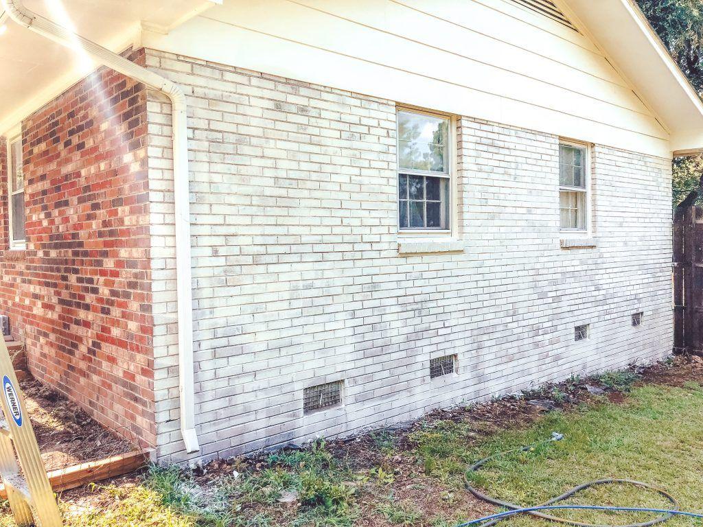 Limewash Brick Exterior Makeover Brick Exterior House Red Brick
