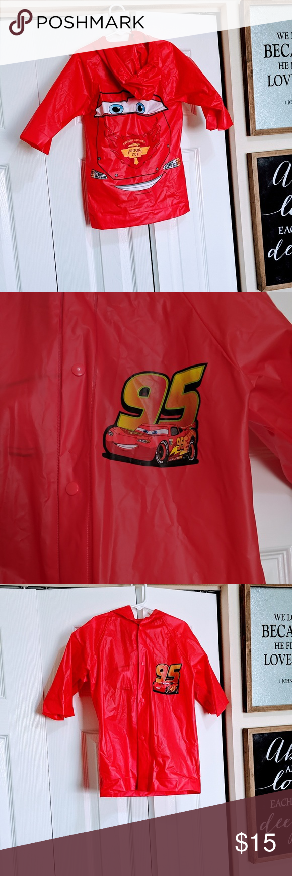 Disney cars raincoat jacket Cars theme lightning McQueen