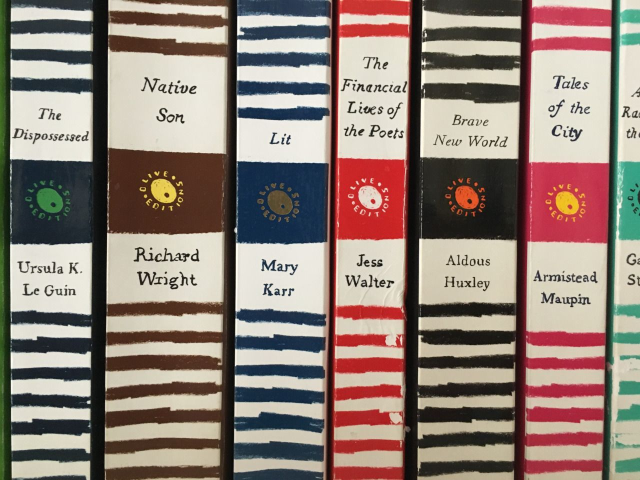 The beauty of Harper Perennial Olive Edition spines