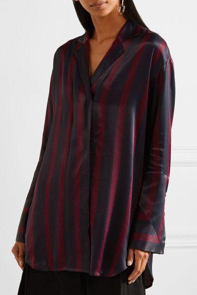 908ef285fb9 By Malene Birger - Fridari Striped Washed-satin Shirt - Midnight blue