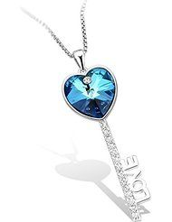 Sue's Secret ''Enchant You'' Ocean Blue Heart Key Pendant Jewelry Necklace with Crystals from Swarovski