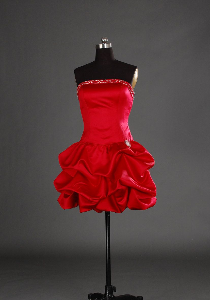 Aline strapless sleeveless short mini satin prom dresses with