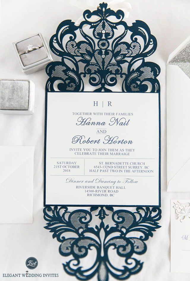 elegant formal navy blue laser cut wedding invites with ribbon and ...