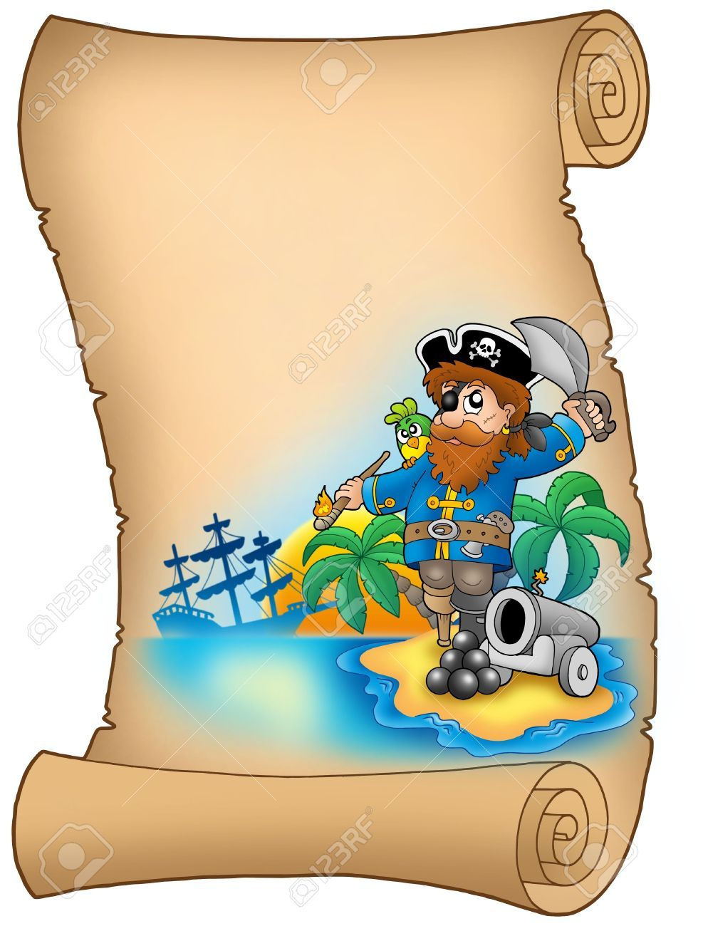 Pergamino con un pirata y un cañón. Con espacio para rellenar. Al ...