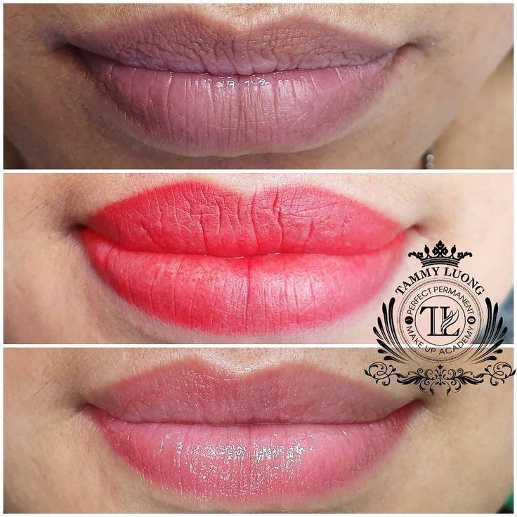Dark lip correction healed lip tattoo lip tattoo by tammy