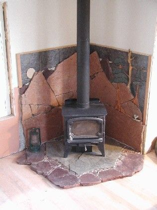 Rock Tile Wall Behind Woodstove Page