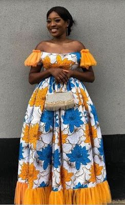 Ankara Long Flare Gown Styles for Wedding