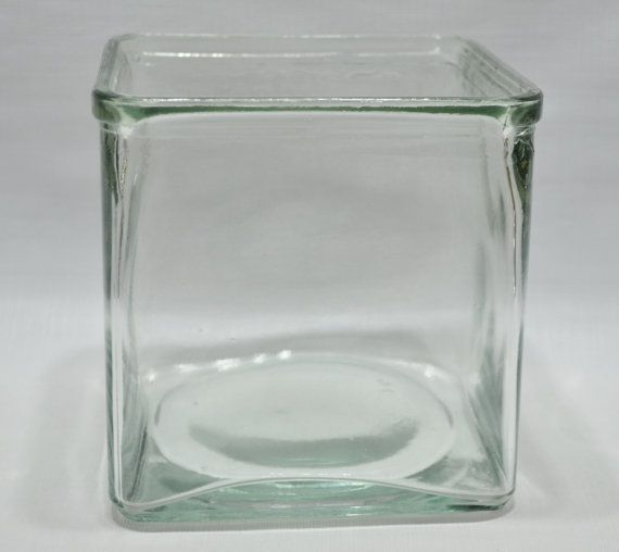Vintage Square Glass Container Vintage Supply Glass Block Glass Battery Jar Small Glass
