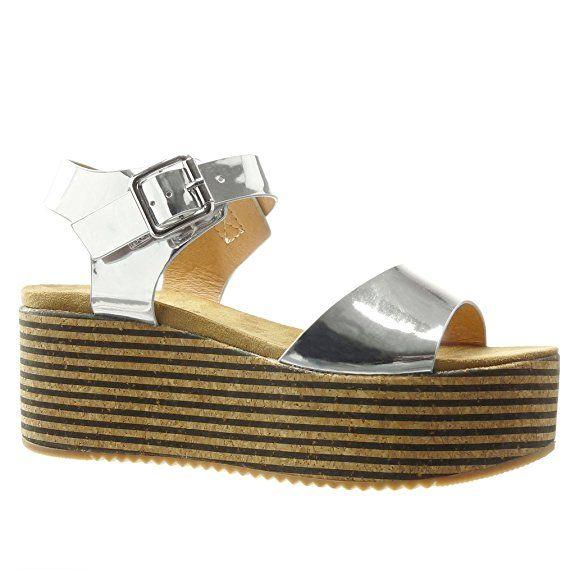 Angkorly Damen Schuhe Sandalen Mule - Plateauschuhe - Kork - Linien - String Tanga Keilabsatz High Heel 7 cm - Silber LL672 T 39 fI5GB2F