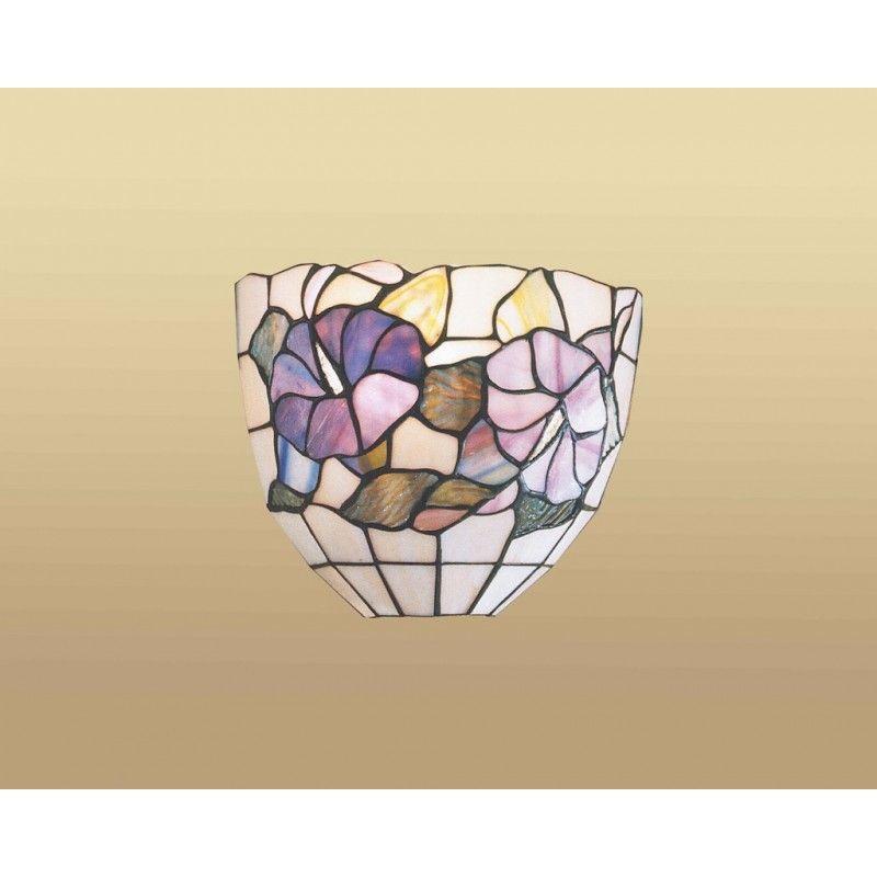 Applique Stile Tiffany Con Due Fiori Viola E Foglie Sfondo Bianco
