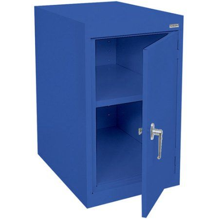 Elite Series Desk Height Storage Cabinet with Adjustable Shelf, 18 inchW x 24 inchD x 30 inchH, Blue