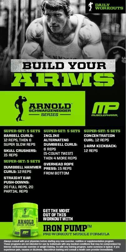 Arnold build your arms musclepharm workouts pinterest arnold build your arms malvernweather Choice Image