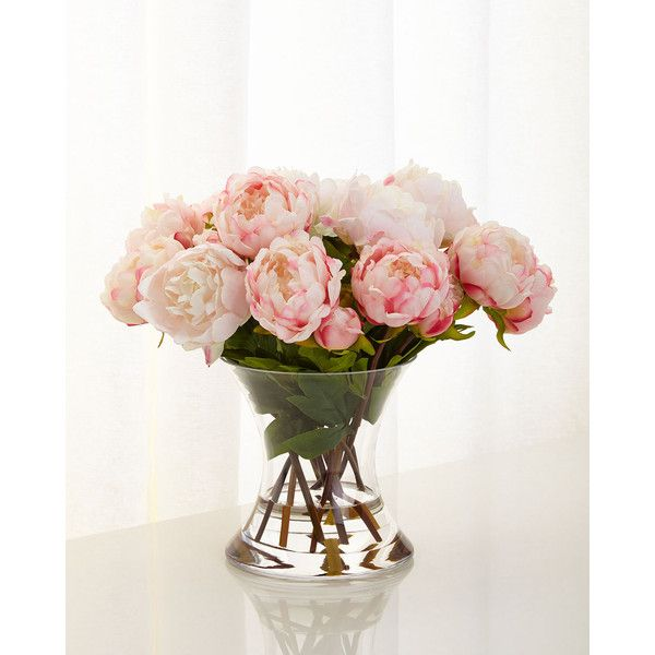 John-Richard Collection Peonies N Pink Faux-Floral Arrangement (2.060 HRK) ❤ liked on Polyvore featuring home, home decor, floral decor, pink, fake peony arrangement, artificial flowers, peony silk flowers, artificial silk flowers and pink silk flowers