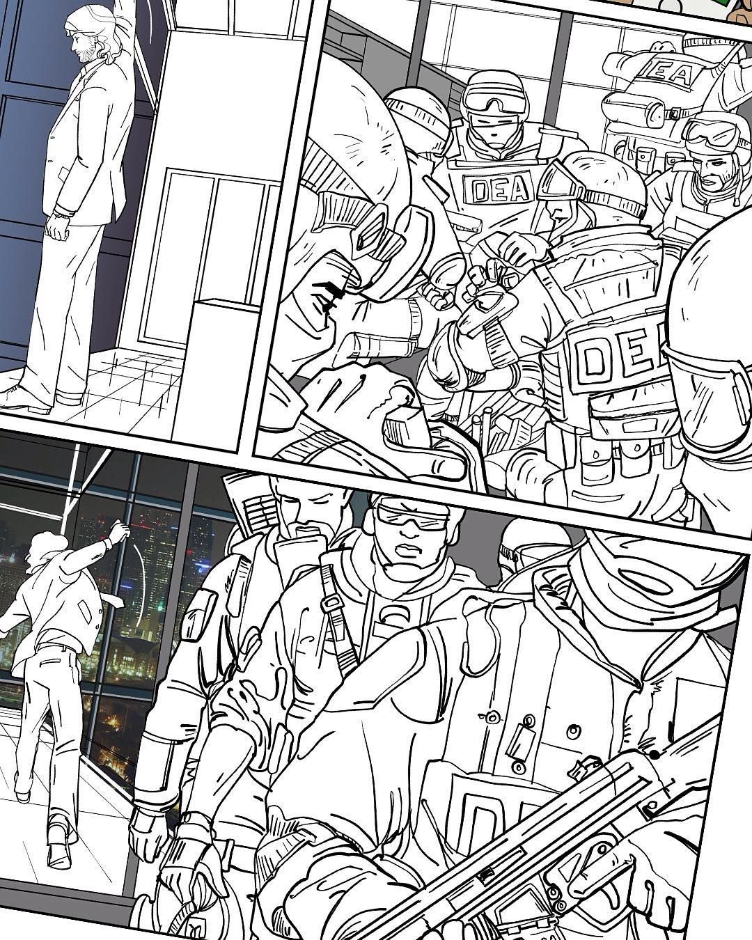 Work In Progress Inking Page  Of Graphic Novel By Storyboard