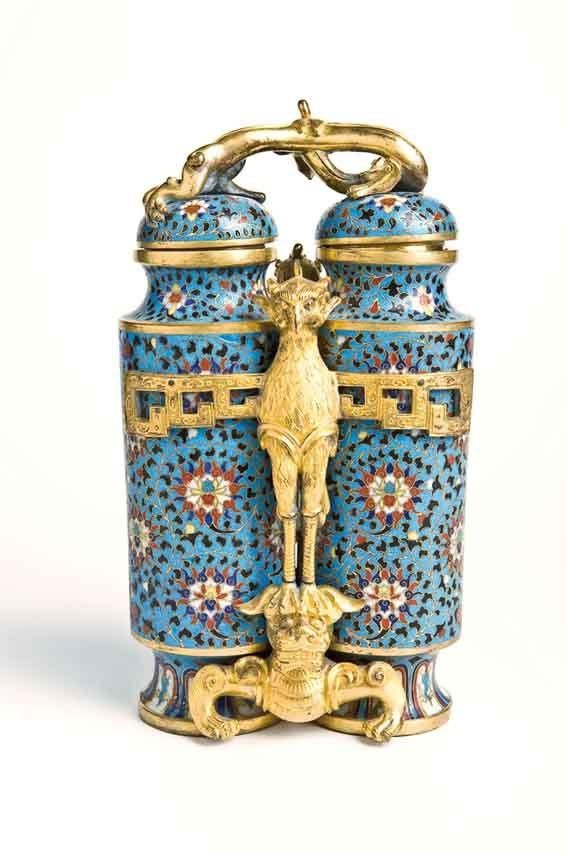 Cloisonne enamel on gilt copper Vase, early Ming Dynasty