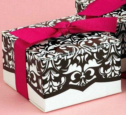 20 Mini Damask Wedding Favor Box Cake Chocolate With Fuchsia Grosgrain Ribbons