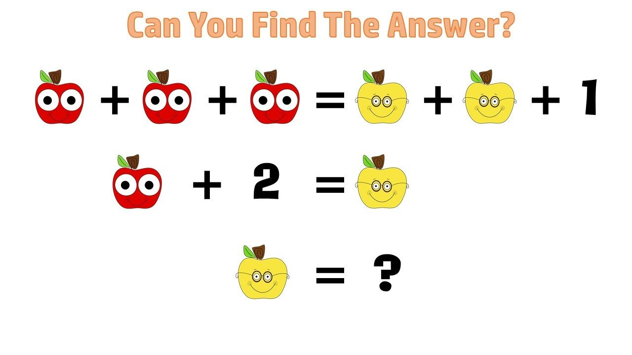 Can you solve this APPLE QUIZ? Math Puzzles Pictures! | Math, Brain ...