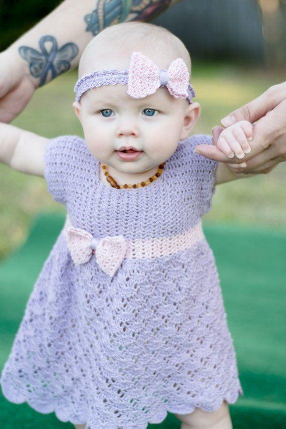 Crochet Baby Dress Pattern - Crochet Thread Dress Pattern - Crochet Size 10 Thread Baby Pattern - Crochet Lace Princess Dress Sizes NB-24mos #vestidosparabebédeganchillo