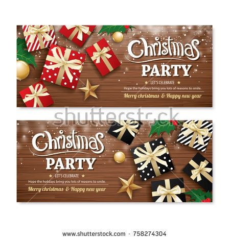 Invitation Merry Christmas Party Poster Banner And Greeting Card