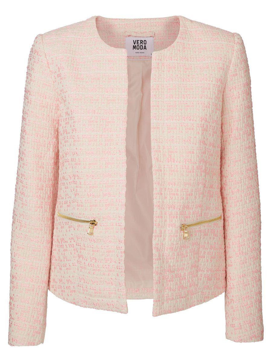 e883fd860 Classic and elegant blazer in powdery pink from VERO MODA. Casaco Cardigan,  Casaco Chanel