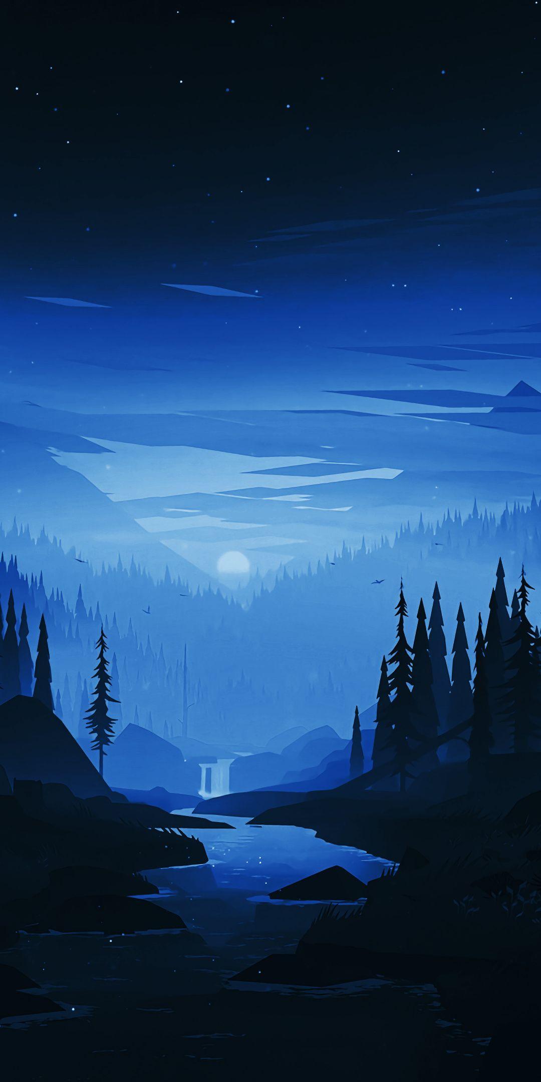 Dark Night River Forest Minimal Art 1080x2160 Wallpaper