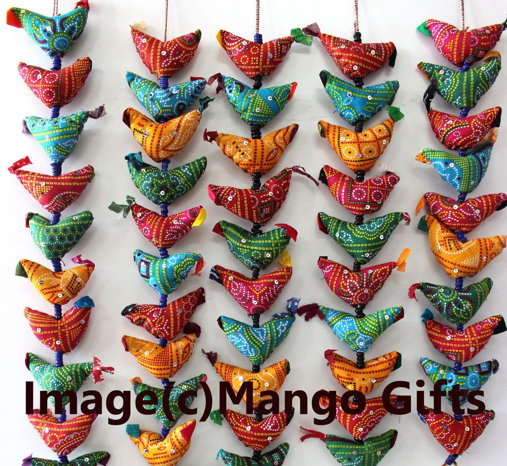 Indian Traditional 15 Fabric Tota Bird Door Hanging Mobile ... for Indian Hanging Decorations  166kxo