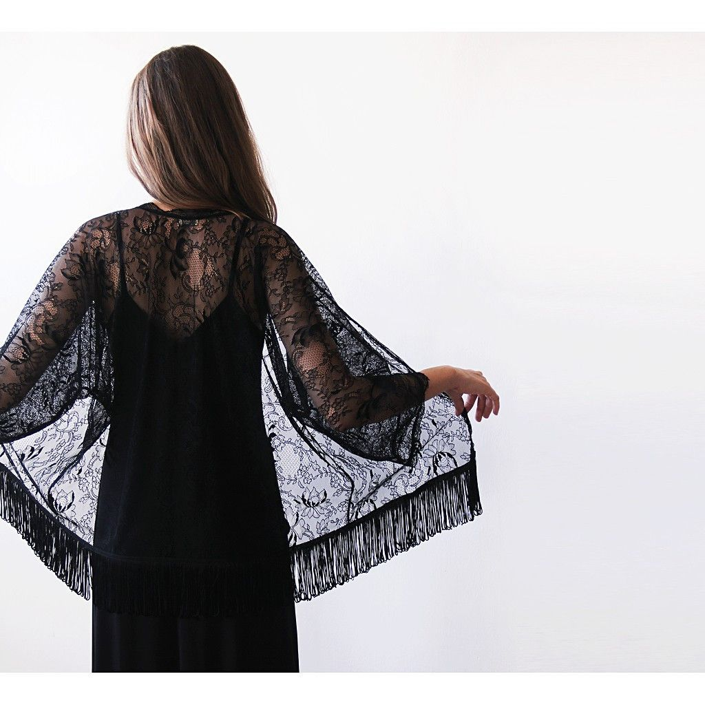 Black fringed lace kimono black lace cover up products