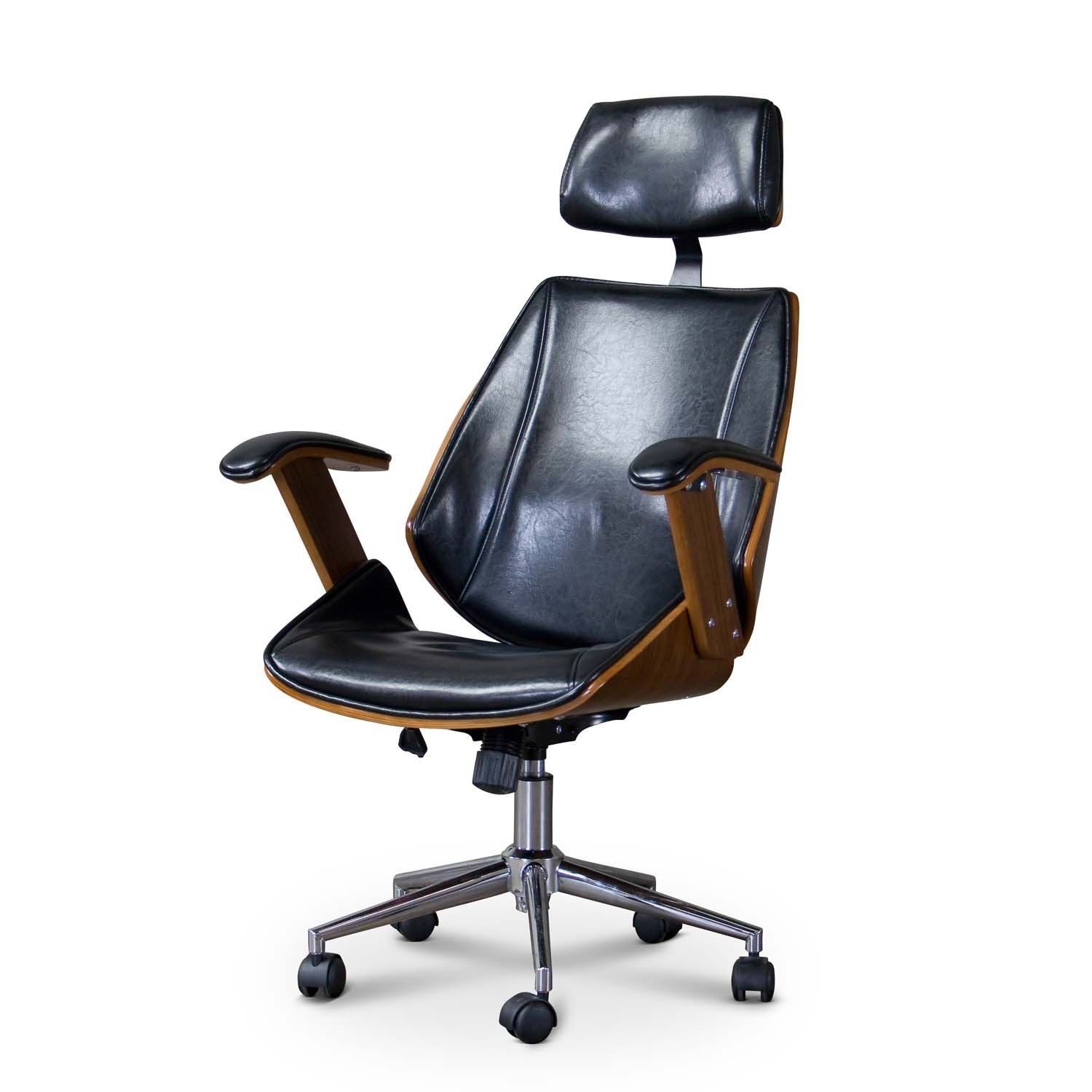 Clearance Office Chairs Baxton Studio Hamilton Walnut Black Faux Leather Office