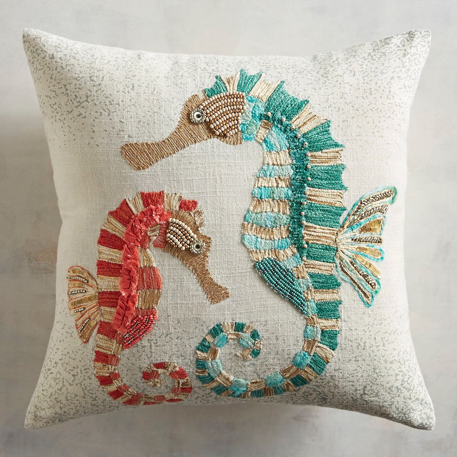 Embroidered Two Seahorses Pillow Seahorse Pillows Pillow Pattern Pillows