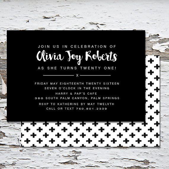 21st Birthday InvitationMinimalistModernBirthdayInvitation – 18th Birthday Invites