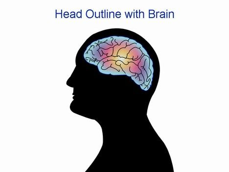 Head outline with brain PowerPoint Template Powerpoint ideas