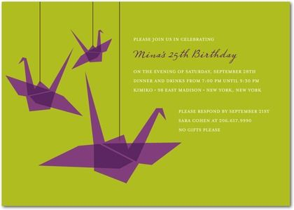Asian Theme Part Inivtations – Japanese Birthday Invitations