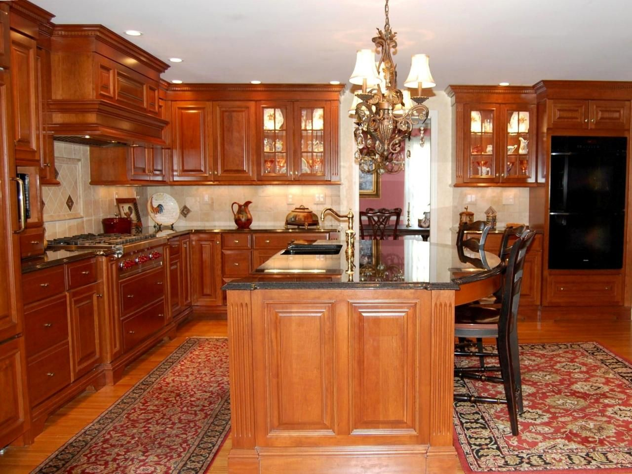 This Traditional Kitchen Features Custom Cherry Cabinetry Dentil Alluring Kitchen Design Granite Inspiration Design