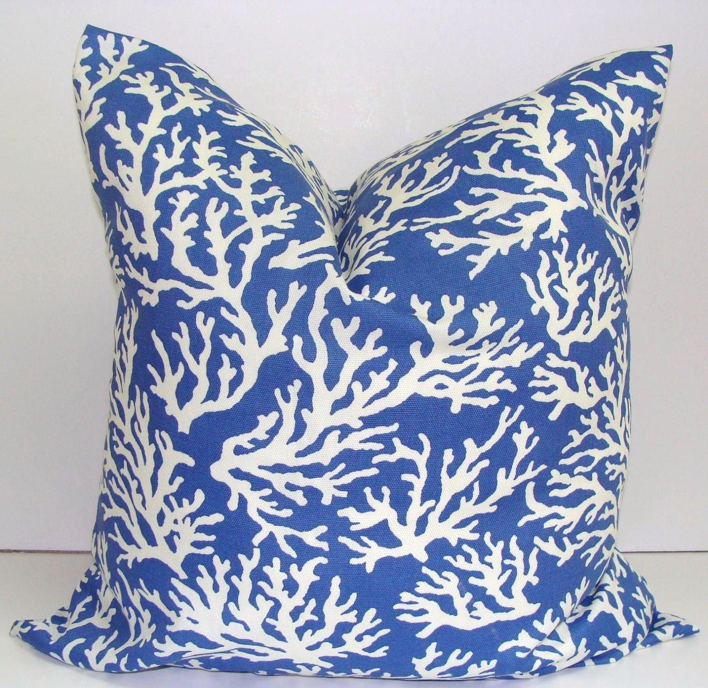 Blue Nautical Pillow Coral Branches 18x18 Inch Lumbar Pillow Cover Printed Fabric Front And Back Indoo Artisan Pillows Beach Decor Pillows Blue Outdoor Pillows