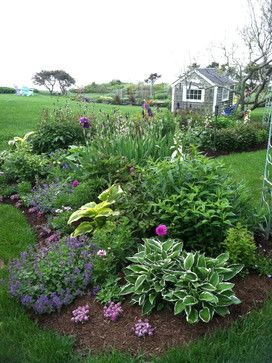 Mound Flower Bed With Mixture Of Perennials Landscaping With