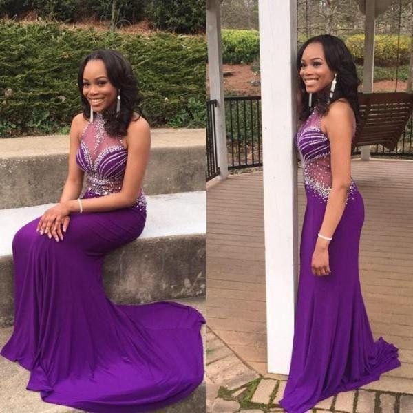 purple Prom Dresses,beaded prom dress,long prom Dress,formal prom dress,high neck evening dress,BD2899