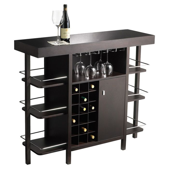 Bar With Racks And Storage For Wine And Pint Glasses, Wine And Liquor  Bottles,