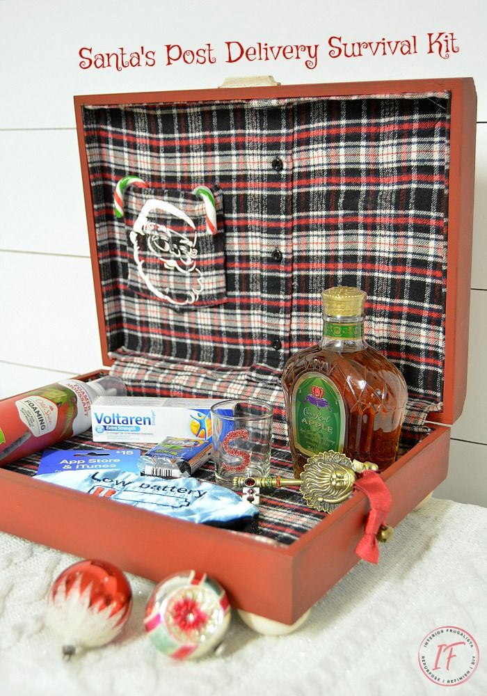 Flannel Lined Post-Delivery Box For Santa | Christmas stencils, Red christmas, White chalk paint