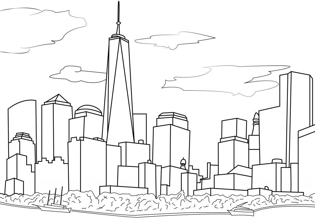 City Coloring Pages New York Drawing City Drawing Adult