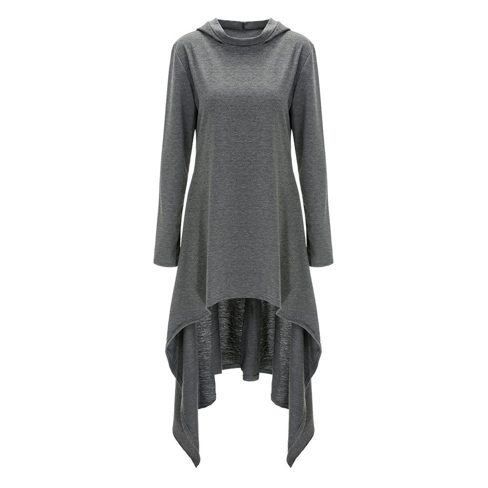 Hooded long sleeve high low dress hooded dress clothes and fall