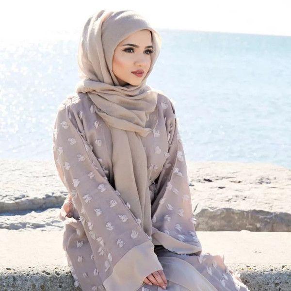 2018 New Modern Muslim Women Front Open Abaya Dress Floral Loose